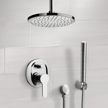 Chrome Shower System with Rain Ceiling Shower Head and Hand Shower